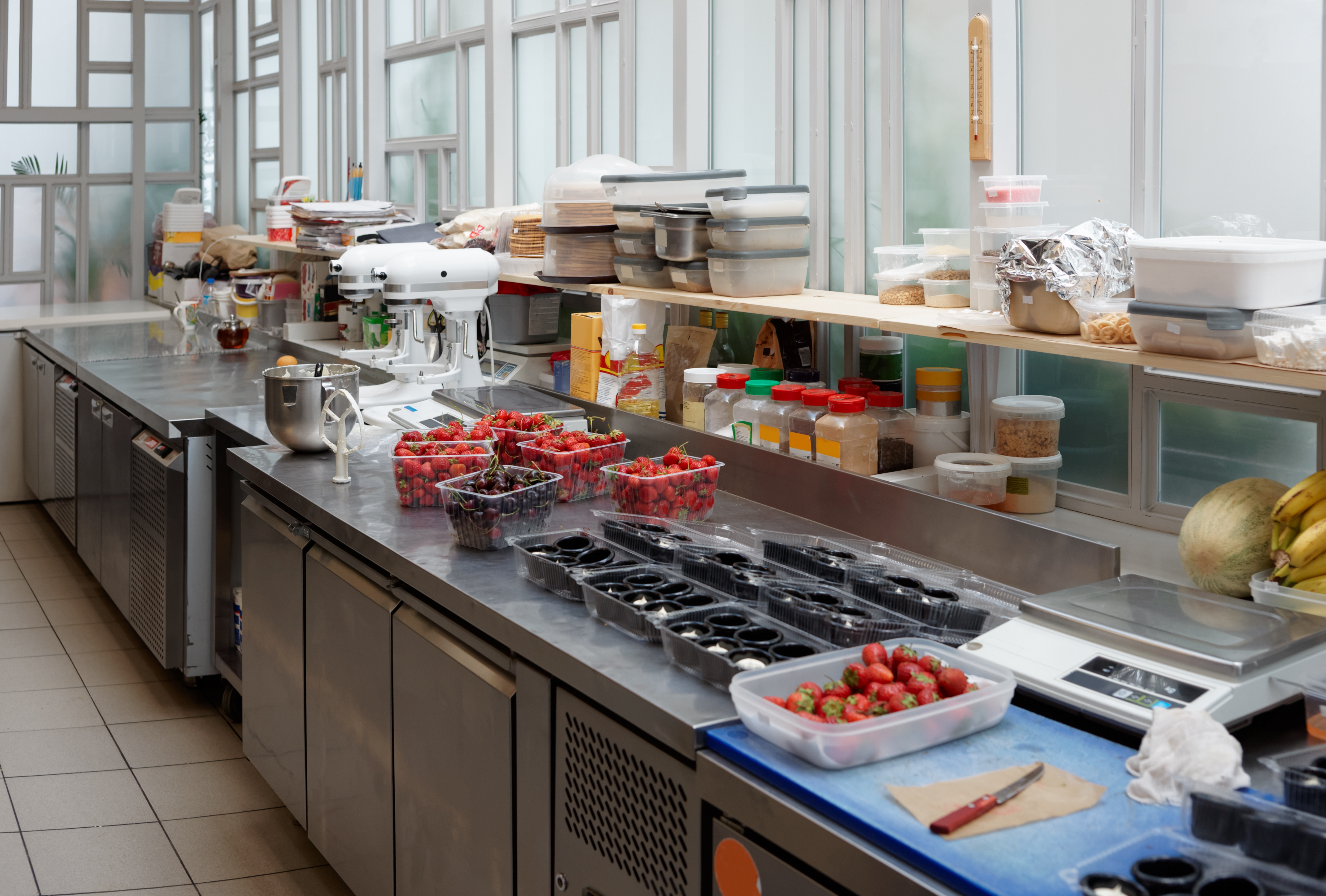 Prep Tables in Commercial Kitchen