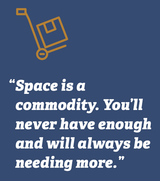 Space is a commodity. You'll never have enough and will always be needing more.