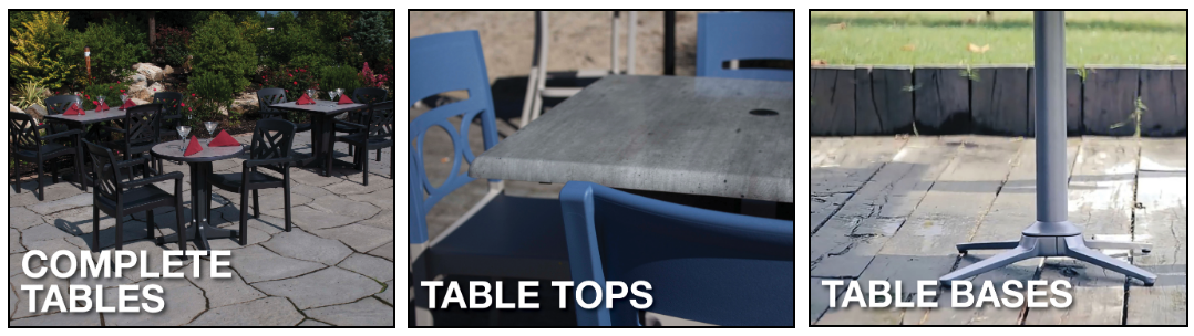 Table Sets, Table tops and Table Bases